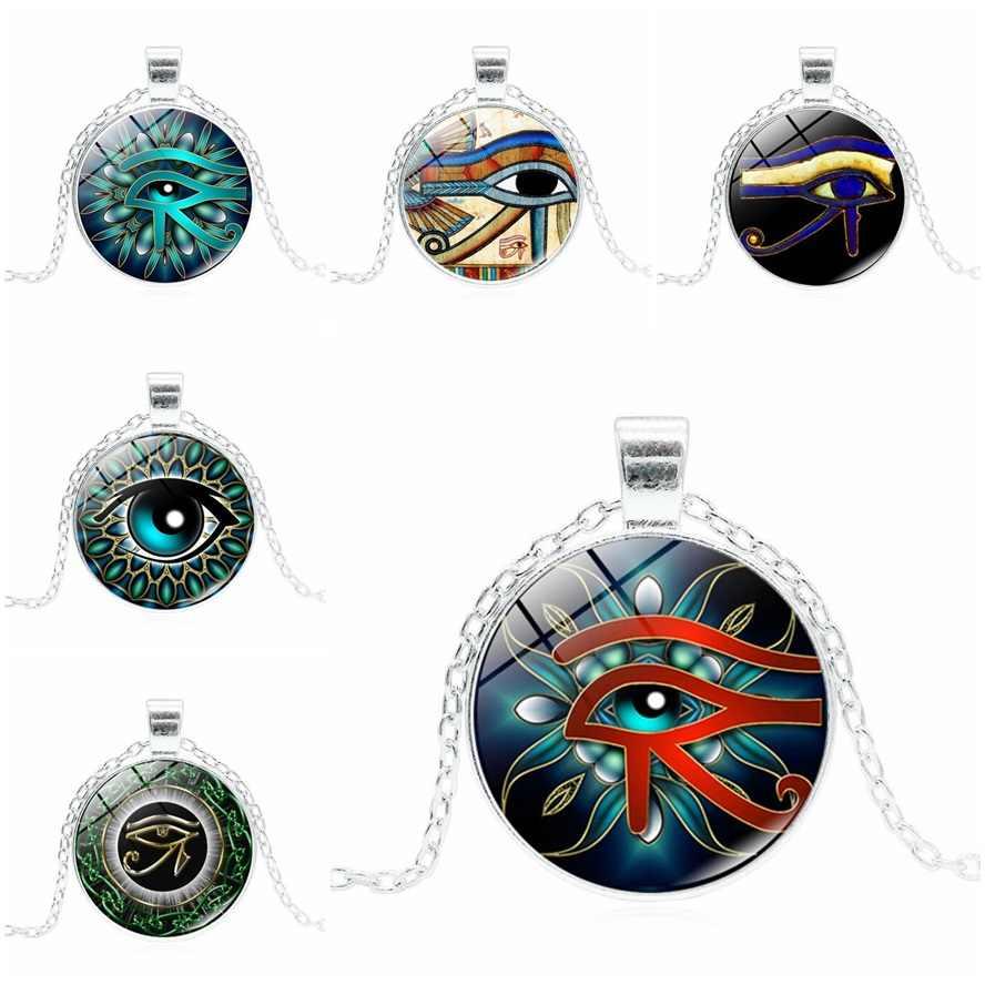 2018 neue Auge von Horus Halskette Alte Gott Ägypten Halskette Ägyptische Mumie silber Runde Glas Dome Ethnische Vintage-Schmuck 6 farben