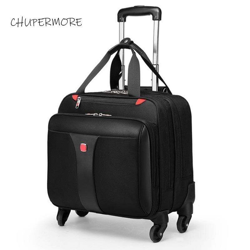 De los hombres de negocios equipaje rodante Spinner 18 pulgadas marca impermeable llevar complementos maleta de ruedas contraseña portátil bolsa de viaje-in De mano from Maletas y bolsas    1