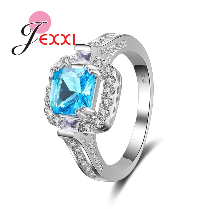 JEXXI Square Princess Cut Blue AAA Austrian Crystal Fashion Rings For Women Sterling Silver 925 Wedding Engagement Finger Ring