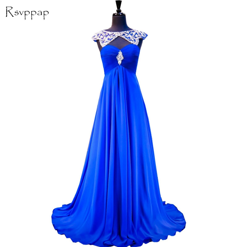 Long   Evening     Dress   2019 Gorgeous A-line Beaded Crystals Women Formal Gowns Royal Blue Backless Chiffon   Evening     Dresses