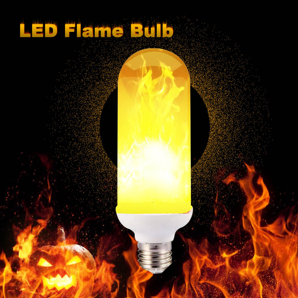 Gravity Sensor E27 LED Flame Bulbs Beacon Fire Corn Light Bulb Lamp Bombilla Home Decoration Lighting koster bonfire Smart chip