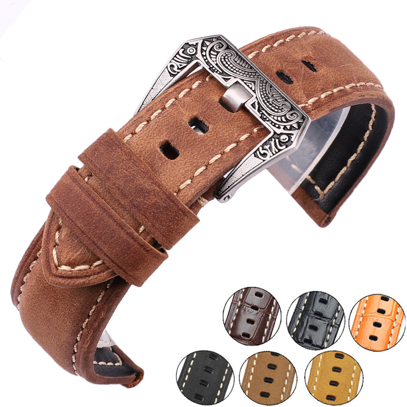 Italy Genuine Leather Watch Band Straps 22mm 24mm Thick Handmade Soft Watchbands Belt With Retro Steel Buckle For Panerai