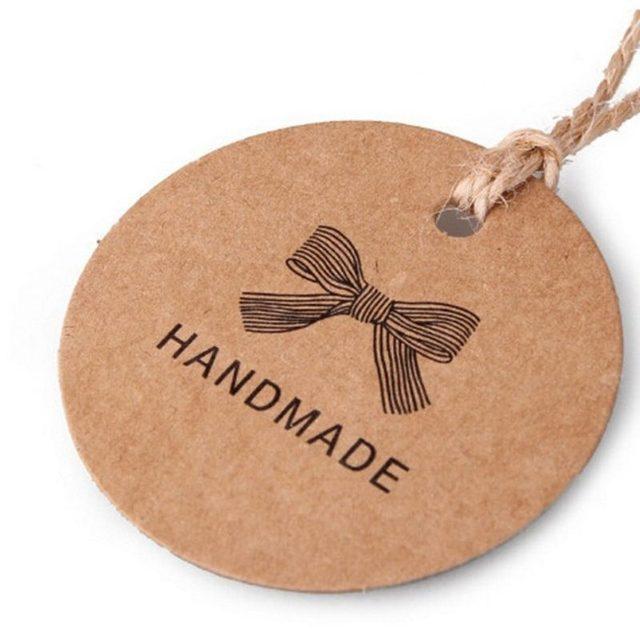 100 Pcs Lot Vintage Round Kraft Blank Labels Handmade Clothing Hang Tag Sticker Signs Tags