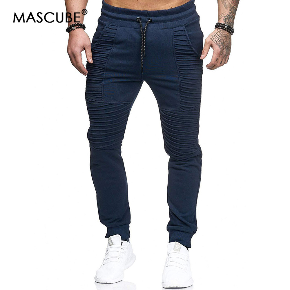 MASCUBE Men's Jogging Pants Striped Running Pants Men Sport Pencil Pants Men Hip Hop Cotton Bodybuilding Joggers Gym Trousers