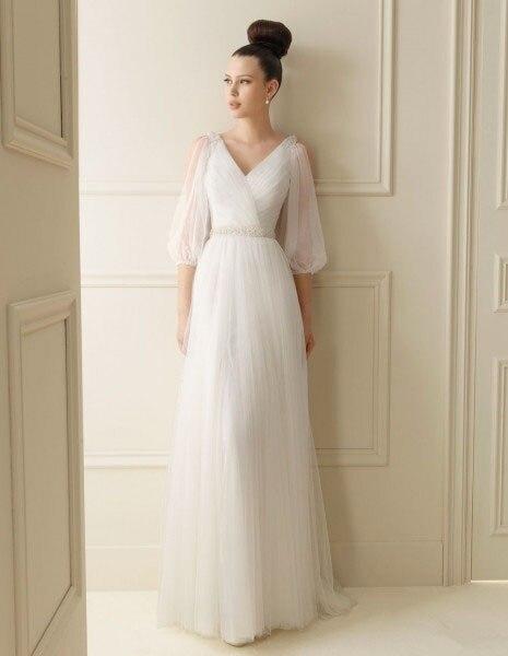2016 New Arrival Natural Free Shipping Maxi   Dress   New Handmade V-neck Long Sleeve Elegant Beaded Bridal Gowns   Bridesmaid     Dresses