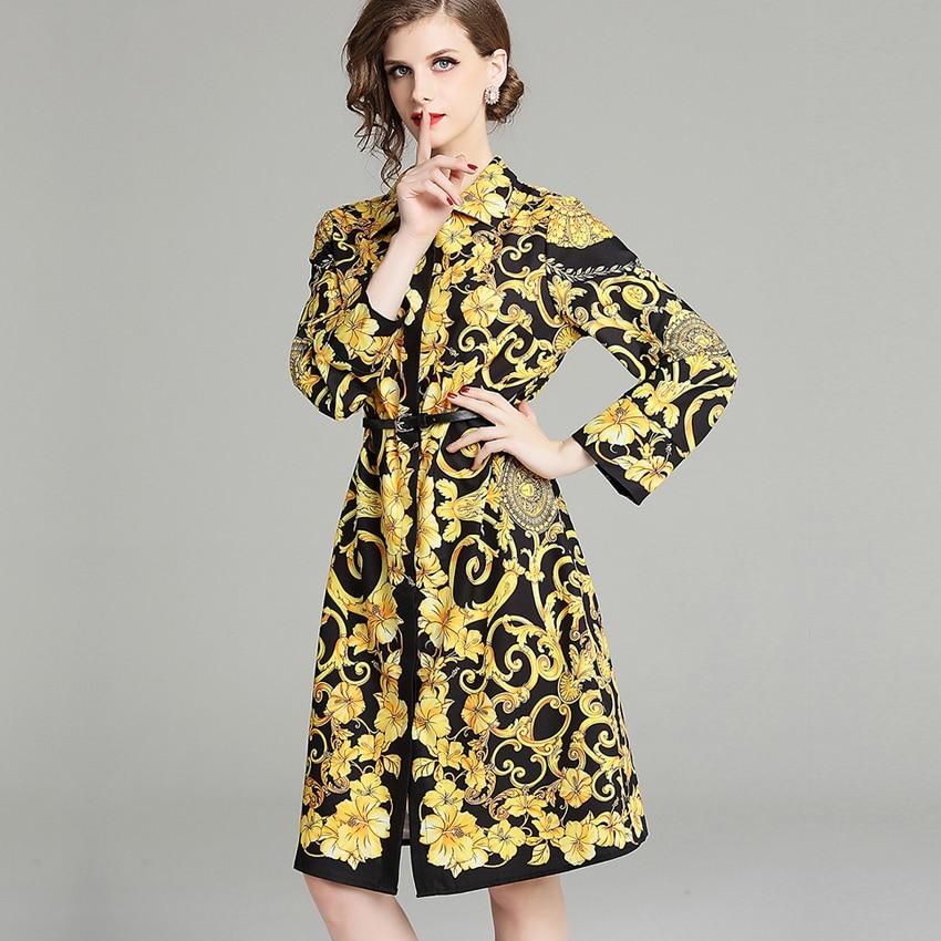 Fashion Runway Designer Women Dress Long Sleeve Retro Pattern Print Pleated Dresses Ladies OL Outwear Autumn Elegant Party Dress