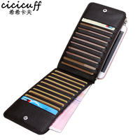 CICICUFF Business Card Holder Genuine Leather Long Credit Card Bag Multi Functional Mobile Phone Pouch Wallet