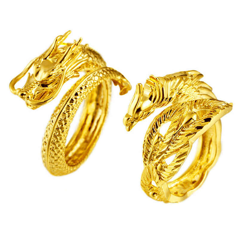 Vietnam Goldcolor Dragon Phoenix Couples Wedding Rings Adjustable Jewelry Wholesale