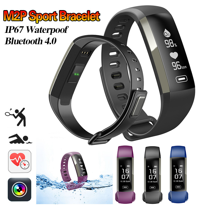 M2P Smart Fitness Bracelet Watch Blood Pressure Heart Rate Monitor Calorie Blood Oxygen Sport Wristband
