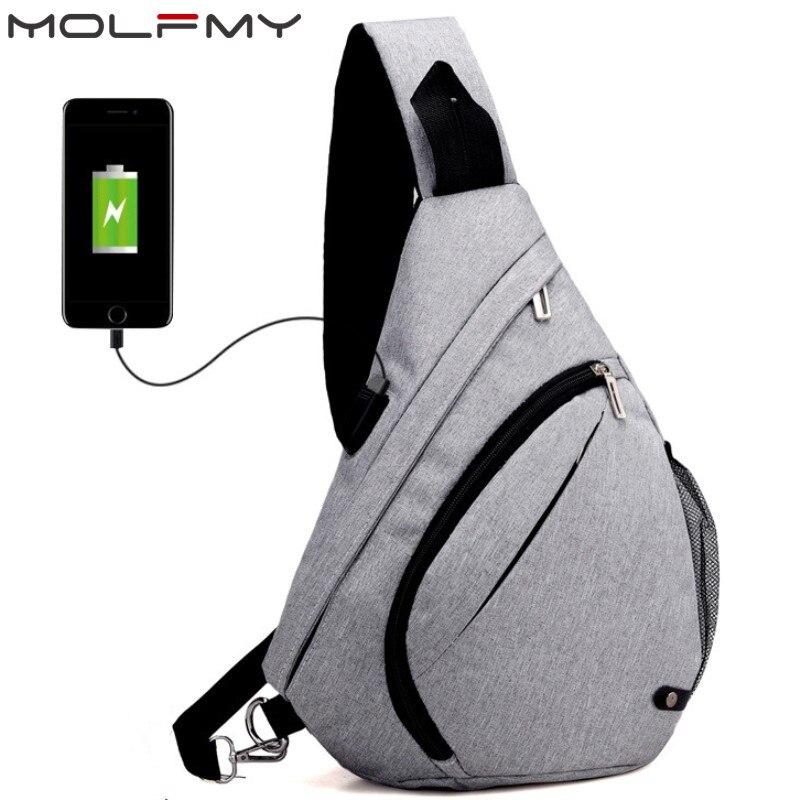 Men's Chest Pack Men&Female USB Charging Waterproof Shoulder Crossbody Bag Water Repellent Anti-theft Backpack Drop Ship
