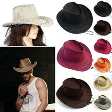 Новое поступление, унисекс, женские, мужские шляпы, дикие западные модные ковбойские шляпы, повседневные однотонные Модные западные головные уборы