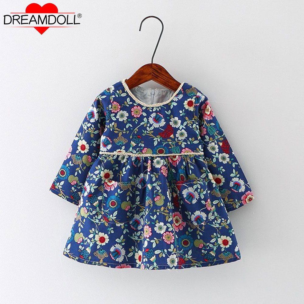 New Autumn Baby Girl Dress Cotton Infant Floral Print European Style Vintage Long Sleeve Toddler Dresses Birthday Baby Clothes 2018 spring autumn black long dresses full sleeve empire floral print patchwork vintage designer maxi women dress clothing xxl