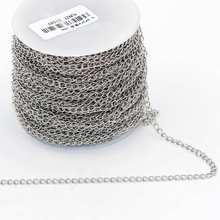 25m/roll (4mm*3mm*0.6mm) stainless steel link chains for DIY necklace Jewelry accessories