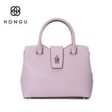 Hongu Light Luxury Genuine Leather Women Metal Hasp Tote handbags Famous Brand Lady Shoulder Bags Pure Shell Bag designer louis