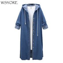 WSYORE Women Long Hooded Trench Plus Size 2019 New Spring and Autumn Long-sleeve Trench Coat Female Long Denim Coat NS181(China)