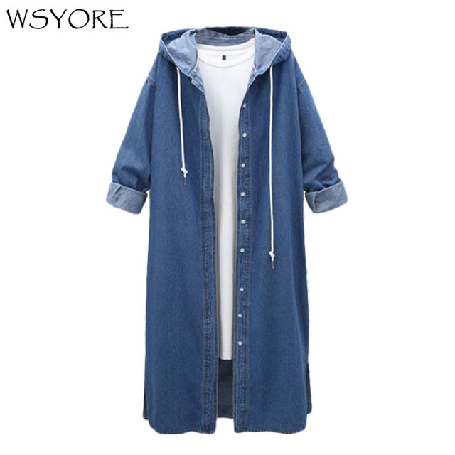 WSYORE Women Long Hooded Trench Plus Size 2019 New Spring and Autumn Long-sleeve Trench Coat Female Long Denim Coat NS181