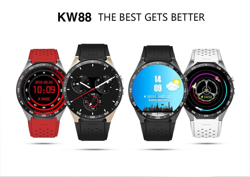 Kaimorui KW88 Android 5.1 OS Bluetooth Smart Watch 1.39 SmartWatch Phone Support 3G Wifi Nano SIM WCDMA Heart Rate Monitor