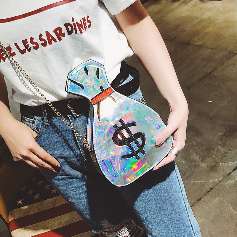 2017 summer new money bag embroidery laser oblique spanning lady single shoulder bag factory direct wholesale can be issued.