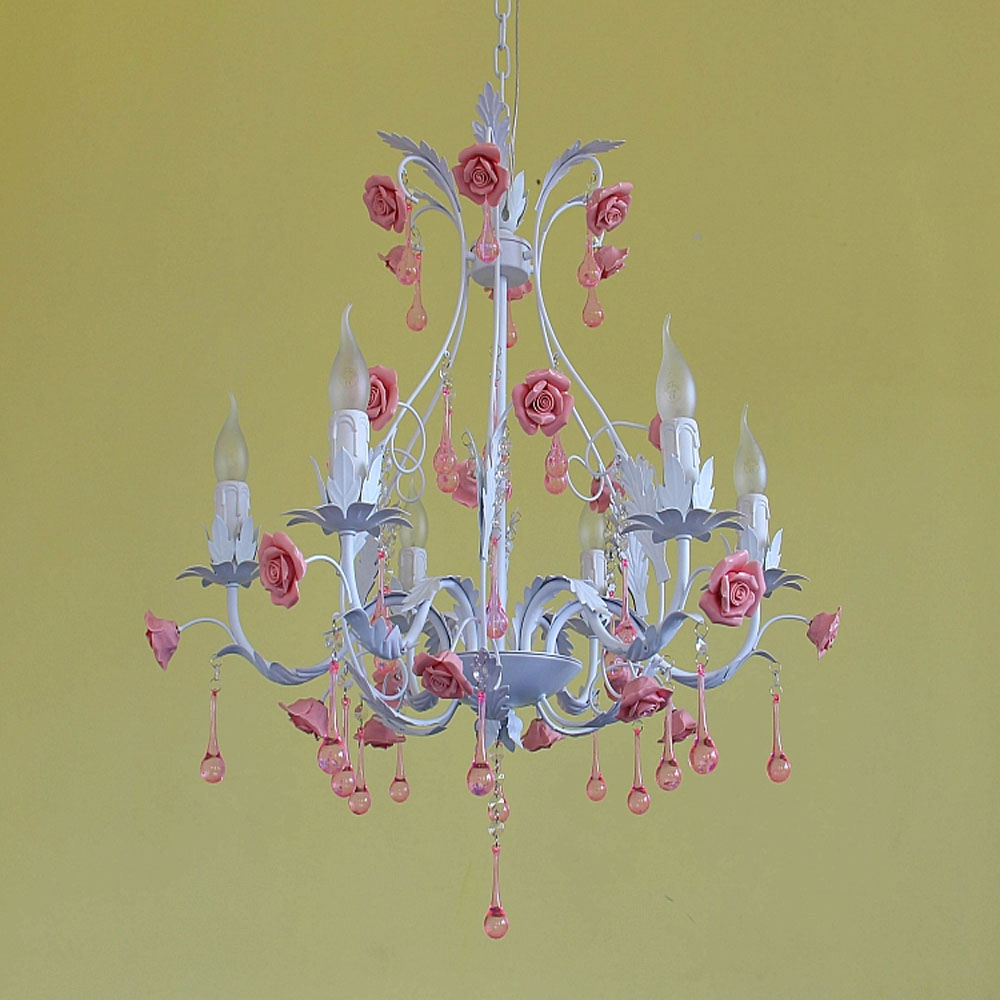 Products Pastoral Style chandelier led Rose Flower Iron E14 Children's Bedroom 110v-220v Lovely Children Pink Lighting Crystal L