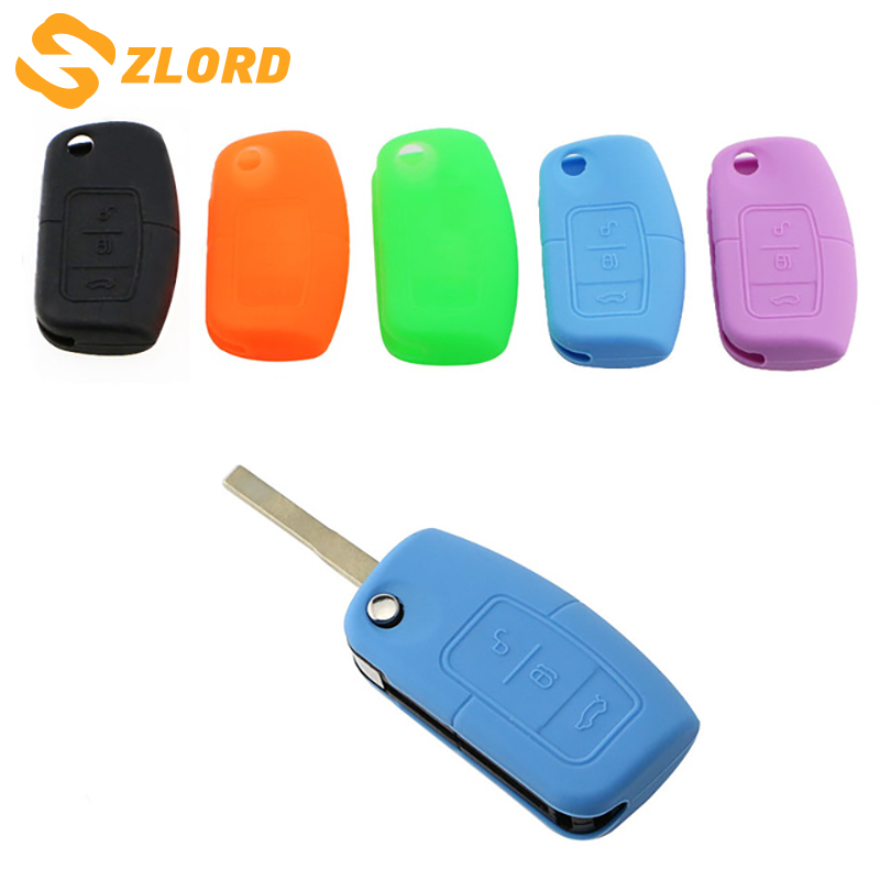 Zlord Key Protection Cover Key Decoration Bag Key Case For Ford Fiesta MK7 Ecosport Focus 2 Car Folded Key Accessory