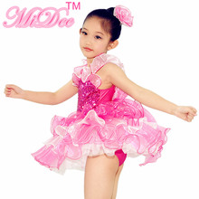 Lovely Ballet Dance Dress Sequin Leotard Ballerina Tutu Dance Dress Girls Party And Wedding Flower Girls Dresses