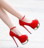 Summer new fashion high heels sexy nightclub patent leather 16 cm high heel women's single shoes high heels fgb78