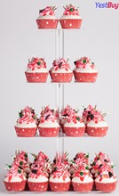 YestBuy 4 Tier Maypole Square Wedding Party Tree Tower Acrylic Cupcake Display Stand  (4 (15 cm gap))(18.7 Inches)