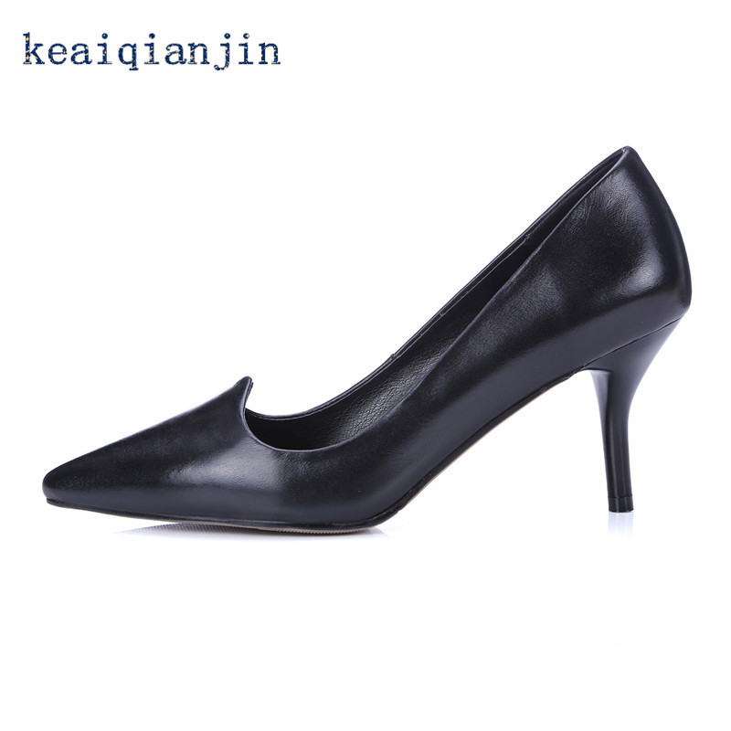 ФОТО Shallow Mouth Solid 7.5 cm Shoes 2016 Latest Sexy Pink Beige Black Thin Heels Pumps High Quality Full Grain Leather Pumps Party