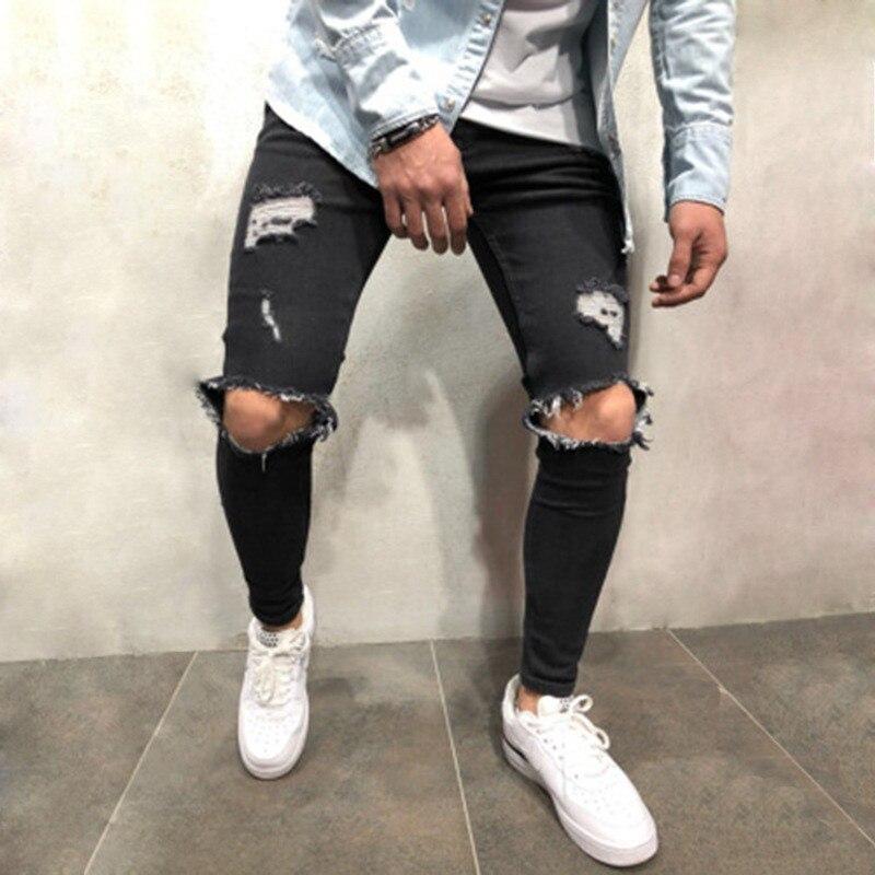 Jeans Men Streetwear Men's Jeans Vintage Blue Gray Color Skinny Destroyed Ripped Jeans Broken Punk Pants Homme Hip Hop C1299
