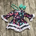 Roupa das meninas do bebê roupa dos miúdos impressão unicórnio algodão outono inverno branco vestido de renda boutique flare luva matching colar & bow