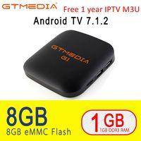 Gt Media G1 Android 7.1 TV Box with 1 Year IPTV M3U Iptv Subscription Amlogic S905W 1GBRAM +8GBROM H.265 1080P PK Mi TV Box 2 3