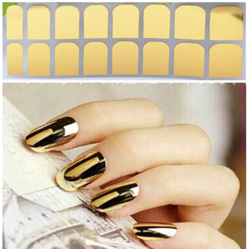 Nail Foil Gold Silver Tips Wrap Metallic Art Kit Adhesive Sticker ...