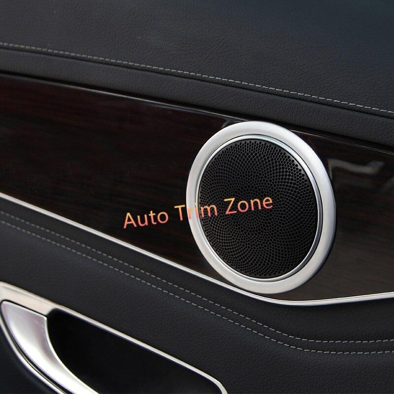 4 pièces ABS intérieur porte haut-parleur anneaux couverture garniture pour Mercedes Benz classe E W213 2016 2017