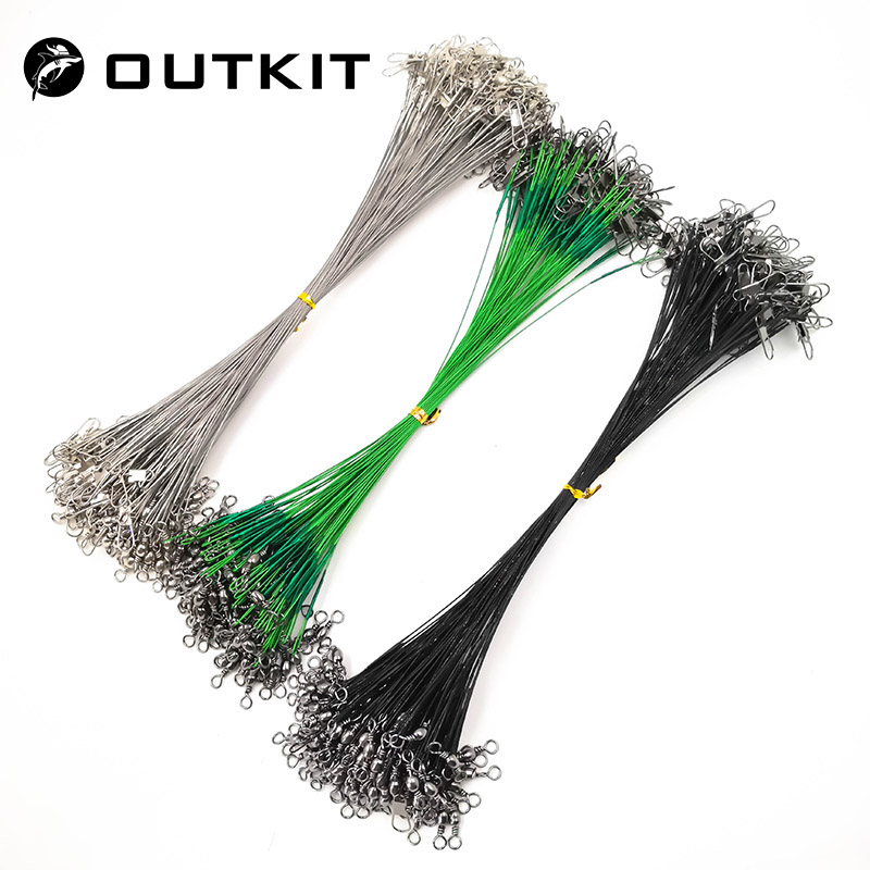 OUTKIT 20PCS/lot Fishing Lure Trace Rope Wire Leader Line Swivel Tackle Spinner Shark Spinning With 15CM, 20CM, 24CM, 30CM Pesca