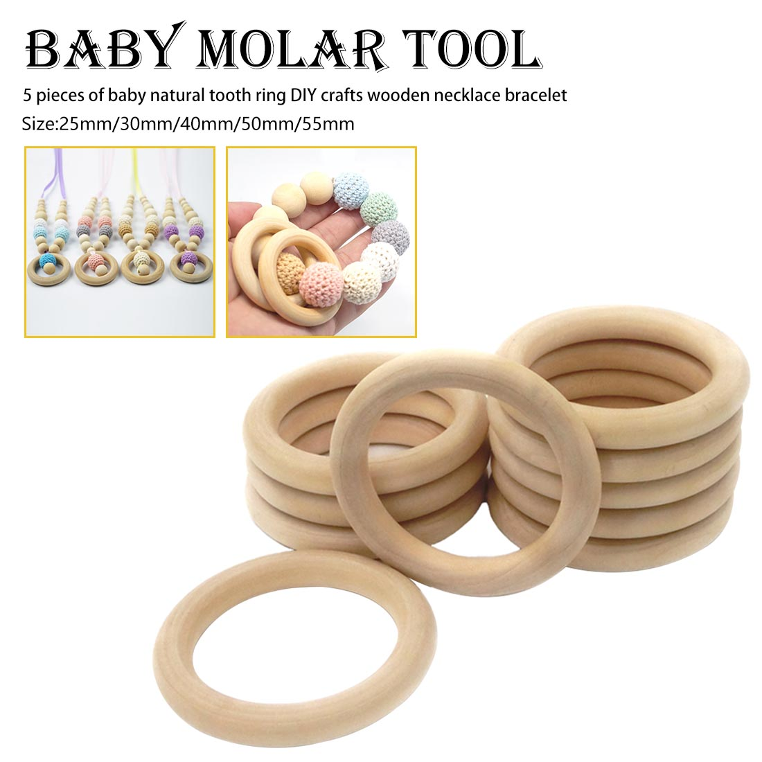 Wood Ring Baby Teething Rings DIY Making Baby Bracelet Necklace Wooden Teether