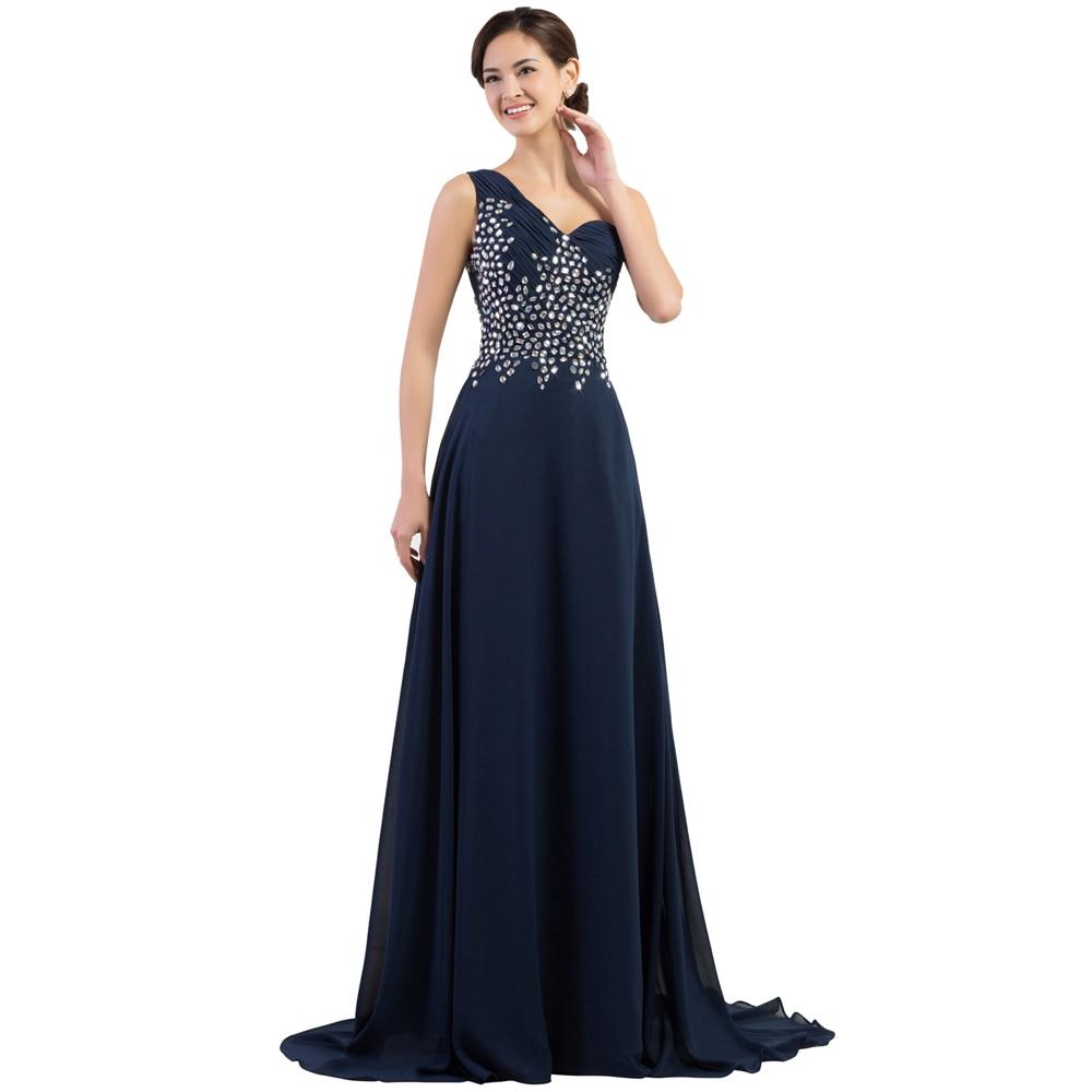 Grace Karin CL4506 One Shoulder Long Elegant Evening Gown Navy Blue Green Lilac Formal Evening