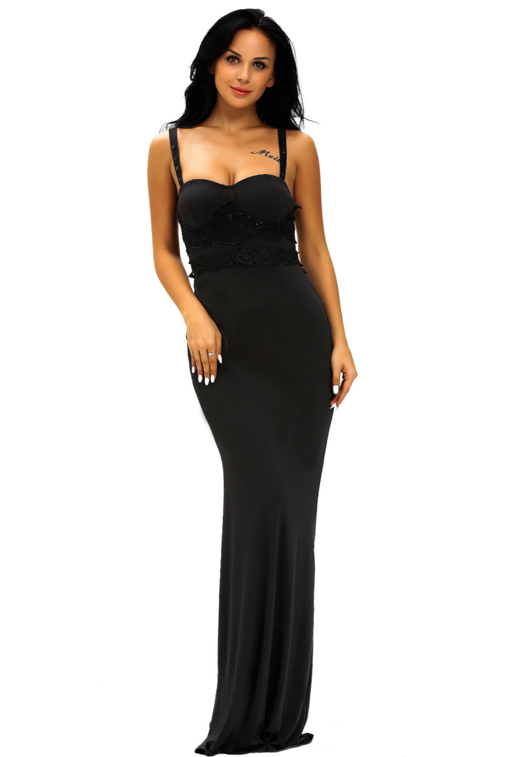 Black dress for prom night - Night Club Wedding Formal Summer Backless Shoulder Straps Yellow Black Lace Detail Pink Long Prom Party Maxi Dress 61153 S M L