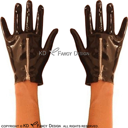 Black Short Sexy Latex Gloves With Zipper Rubber Mittens Rubber Gloves ST-0053