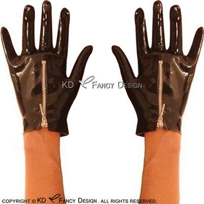Guantes de látex Sexy negros cortos con cremallera de goma guantes de goma ST-0053