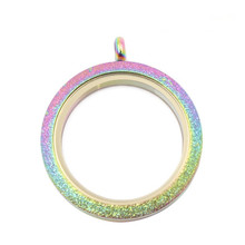 Stainless Steel Waterproof floating Locket Rainbow Shine living Memory pendant for DIY Necklace