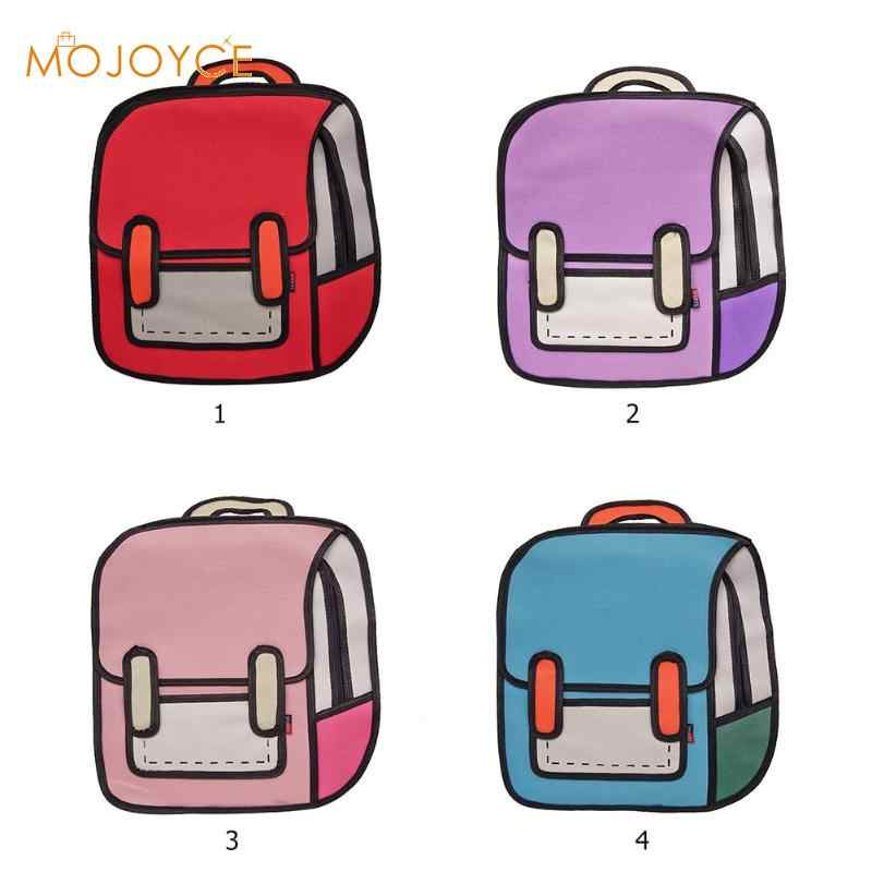 3c0727557e54 ... Модные креативные женские рюкзак 2D рюкзак с рисунком 3D прыжок стиль  мультфильм школьные сумки для подростков ...