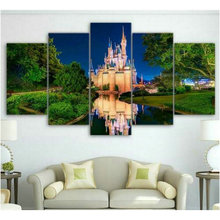 5 spell painting sticker Paradise full square 5d diamond castle living room decoration diy embroidery 3d round