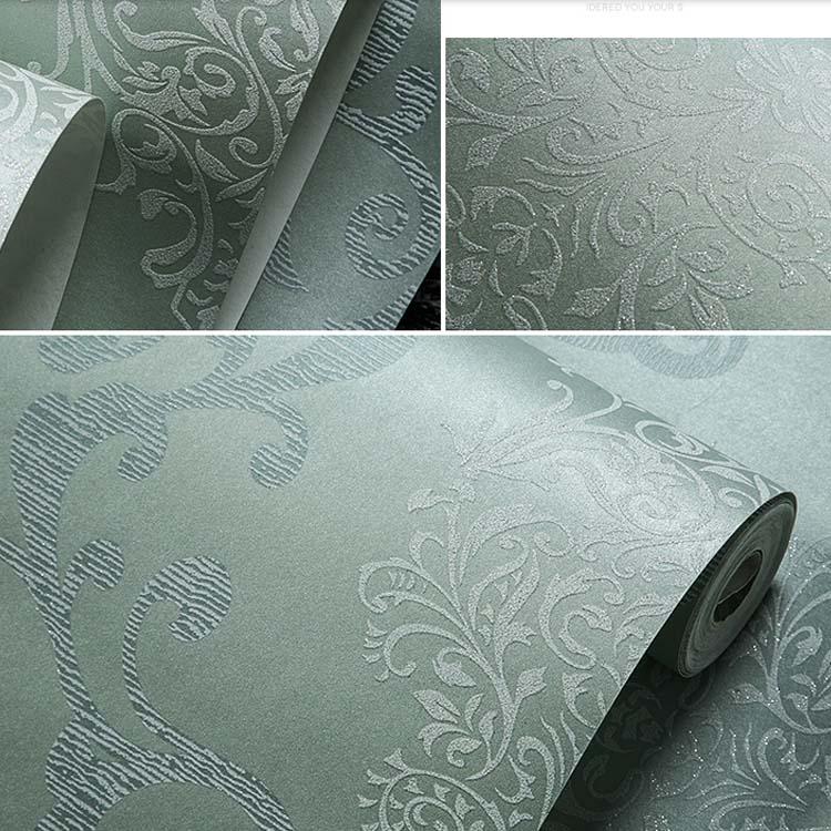 Купить с кэшбэком QIHANG European Style Luxury 3D Damascus Pearl Powder Non-woven Wallpaper Roll Blue&gray Color 0.53m*10m=5.3m2