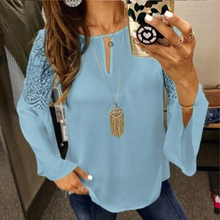 Women Solid Long Sleeve Blouse O-neck Hollow Out Tops Autumn Flare Sleeve Chiffon Blouses flare sleeve chiffon long blouse