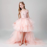 Girls Teens Pink Color Shoulderless Birthday Prom Dress Model Walk Show Princess Tail Wedding Dress Piano Performance Dress