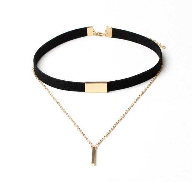 4bbc1e11387b AENINE de moda de terciopelo negro de tela gargantillas Collares para  mujeres de moda corto gargantilla