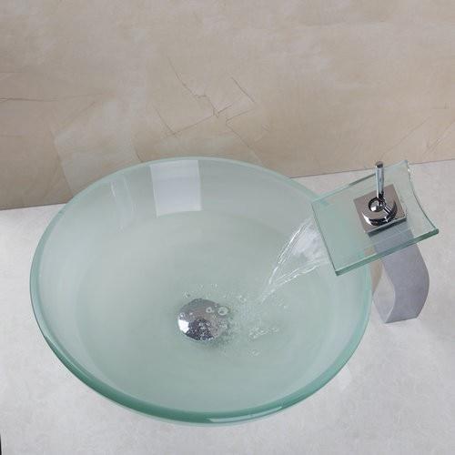 Водопад Носик раковина кран ванная раковина умывальник Закаленное стекло ручная роспись 40678221A туалет ванна Латунь Набор кран, смеситель кран