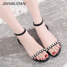 JIANBUDAN/ Flat sandals womens fashion outdoor Ankle buckle Open Toe Sexy Large size summer shoes 34-43