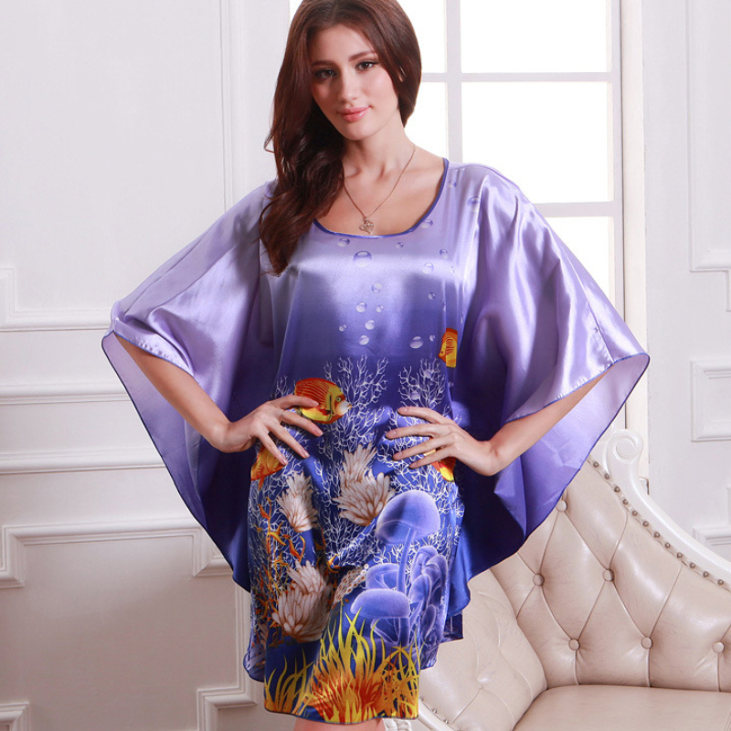 Women Fashion Summer   Nightgowns     Sleepshirts   Plus Size Silk Lady Sleepwear Dressing Gown Female Home Bathrobe Intimissimi