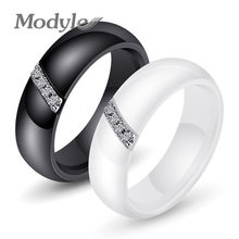 Modyle Black White Ceramic Ring With One Row Australia Zircon Engagement Rings for Women(China)